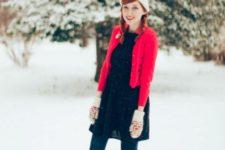 With black dress, red blazer and beanie