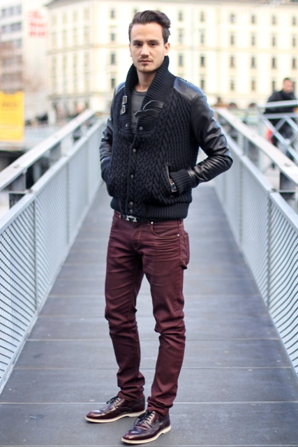 With black jacket and marsala pants