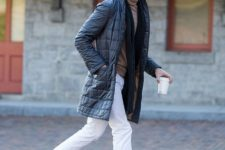With black scarf, white pants and brown shoes