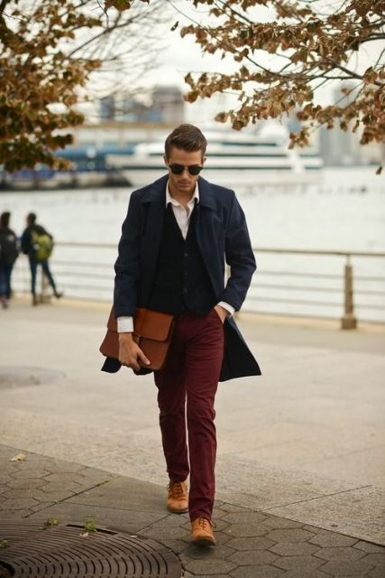 With button down shirt, vest, marsala trousers and brown shoes
