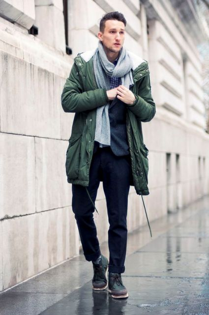 With checked shirt, jacket, gray scarf, navy blue trousers and boots