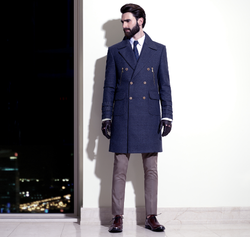 Navy coat outfit with classic shirt, navy blue tie, trousers and leather boots