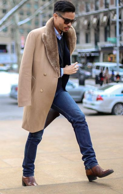 With classic shirt, vest, blazer, staright jeans and brown boots