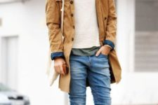 With crop jeans, white sweater, beanie and light brown shoes