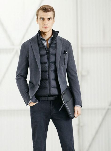 With dark color jeans, shirt and blazer