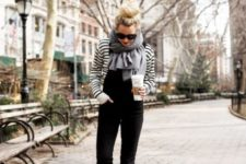 With denim jumpsuit, striped shirt and oversized scarf