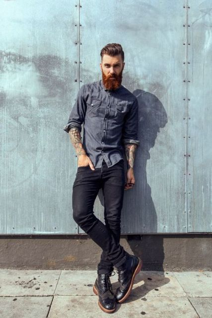 With denim shirt and dark color jeans