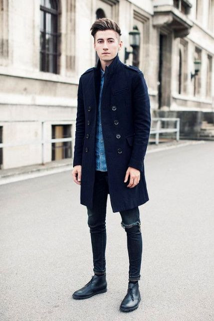 With denim shirt, distressed skinny jeans and black shoes