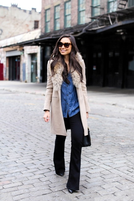 With denim shirt, flare pants and bag