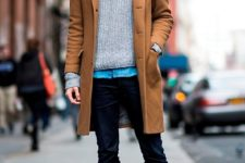 With denim shirt, gray sweater, navy blue trousers and brown shoes