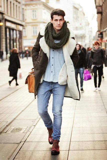 With denim shirt, jeans, marsala boots and leather brown bag