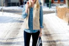 With denim shirt, vest, jeans and tote