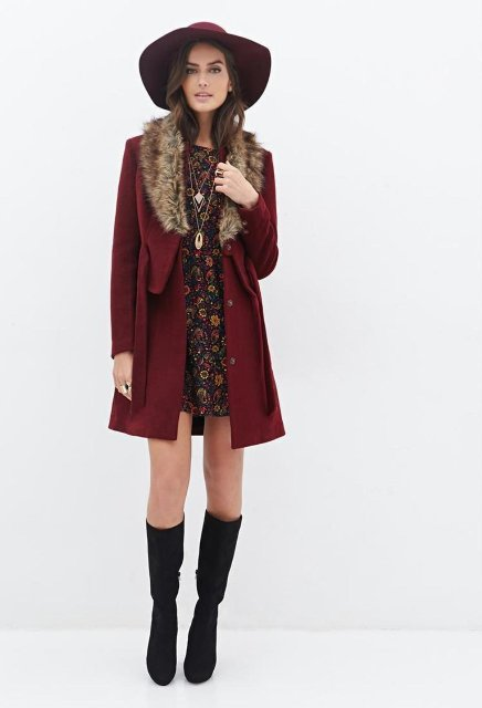 With floral dress, hat and black boots
