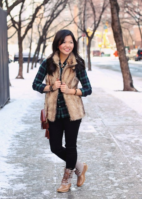 With fur vest, plaid shirt and mini bag