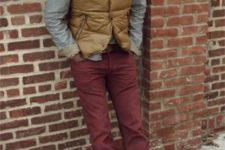 With gray shirt, marsala pants and brown boots