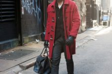 With jacket, pants, leather gloves, loafers and big bag