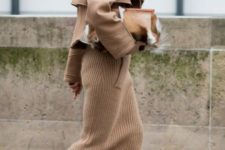 With midi skirt, shearling jacket and clutch