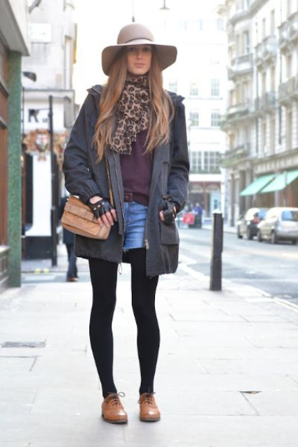 With mini denim skirt, leopard scarf, parka and hat