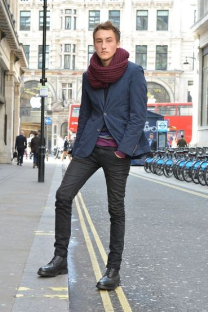With navy blue jacket, black pants and marsala scarf