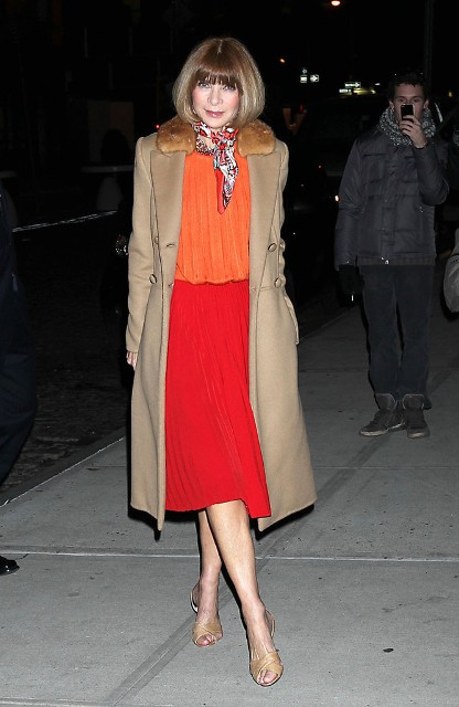 With orange blouse, red midi skirt and scarf