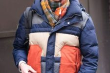 With plaid scarf, jeans and cap