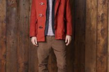 With printed shirt, jacket, brown suede pants and boots