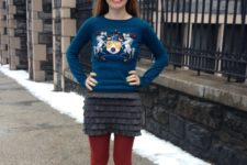 With printed shirt, mini skirt and colored tights