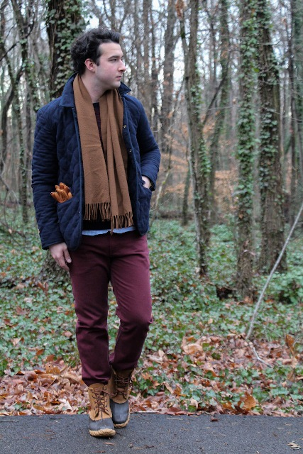 With puffer jacket, brown scarf and marsala pants