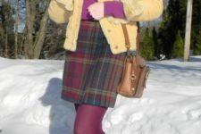 With purple turtleneck, plaid mini skirt, yellow jacket and purple tights