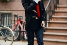 With red scarf, cuffed jeans and shoes