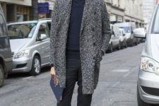 With shirt, black trousers and tweed coat