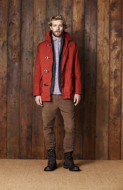 Outfit with shirt, winter jacket, brown pants and mid calf boots