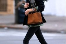 With skinnies, jacket, plaid scarf and suede bag