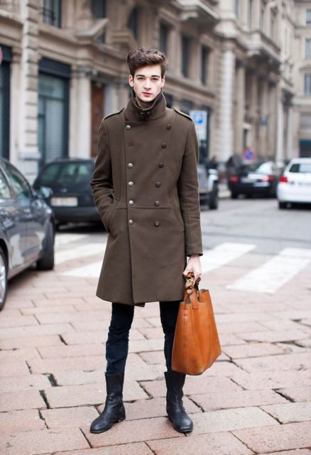 With skinny jeans, mid calf boots and brown tote