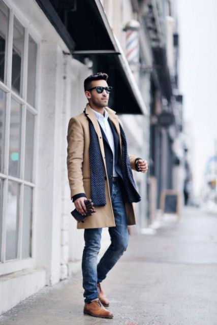 With straight jeans, navy blue jacket and printed scarf