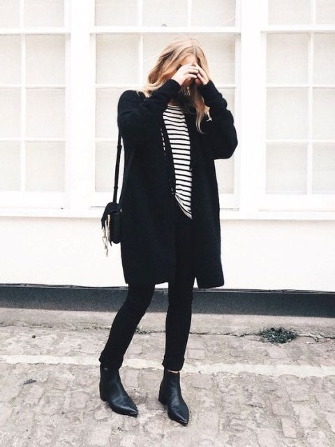 With striped shirt, cuffed pants, cardigan and mini bag