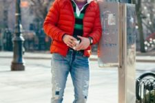 With striped shirt, jeans and boots