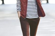 With striped shirt, marsala pants and leather boots