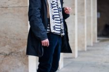 With striped shirt, printed scarf, navy blue velvet pants and black boots