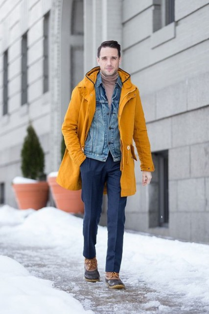 With turtleneck, denim jacket and navy blue trousers