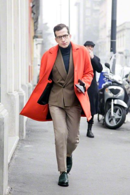 With turtleneck, jacket, light color pants and black shoes