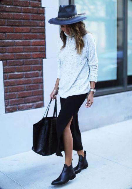 With turtleneck, midi skirt, wide brim hat and big bag