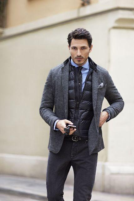 With tweed blazer, shirt and dark color pants