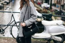 With tweed coat, crop jeans, two color bag and hat