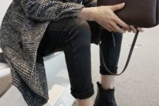 With tweed coat, white shirt, cuffed pants and clutch