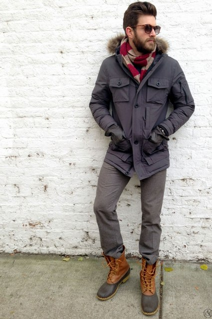 With two color scarf, parka and gray trousers