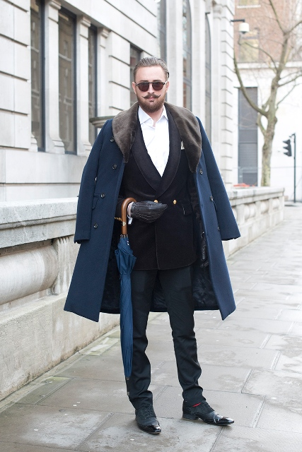 With white shirt, blazer, trousers and classic shoes