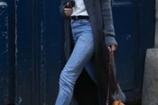 With white shirt, crop jeans, long cardigan and brown bag