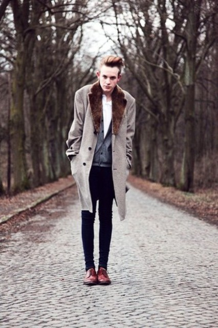 With white shirt, gray cardigan, black skinnies and marsala boots