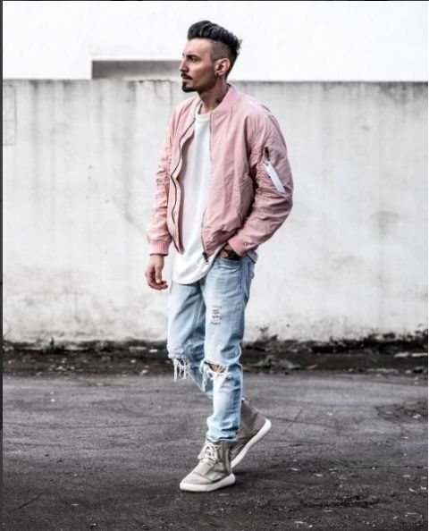 With white shirt, light color jeans and gray sneakers